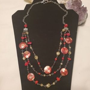 3 Strand Coral and glass Necklace
